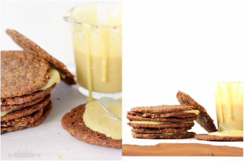 Anzac biscuit and caramel sandwiches