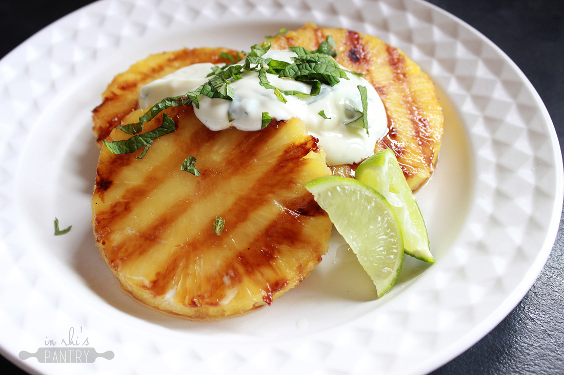 Grilled pineapple with lime yoghurt