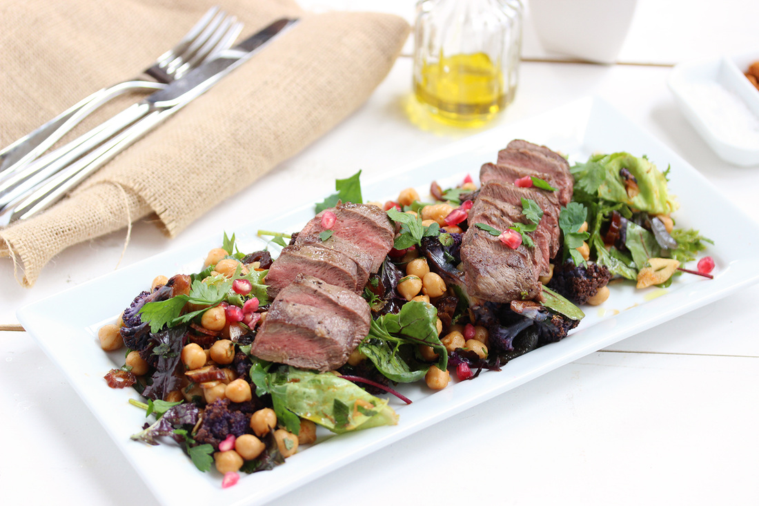 Moroccan steak and chickpea salad
