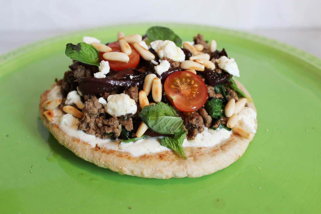Spiced beef and feta pita