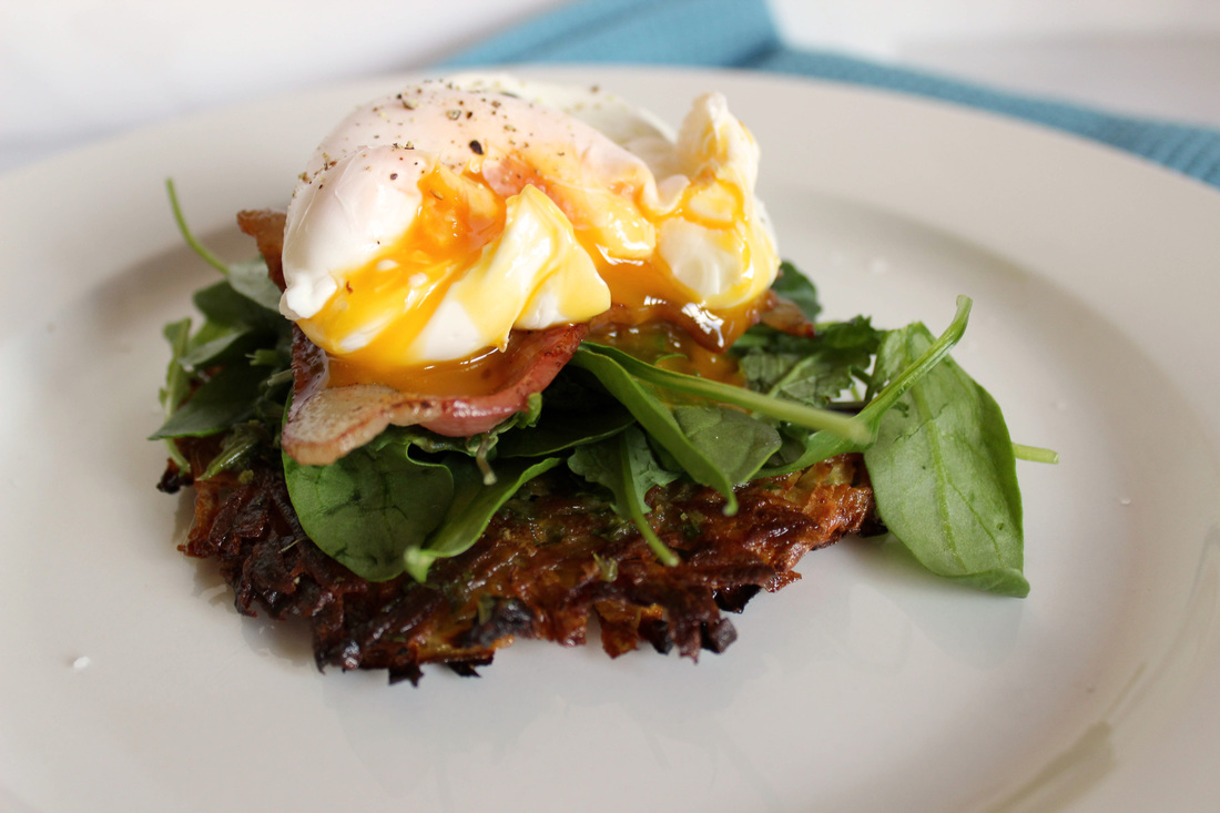 Kumara rosti with poached eggs