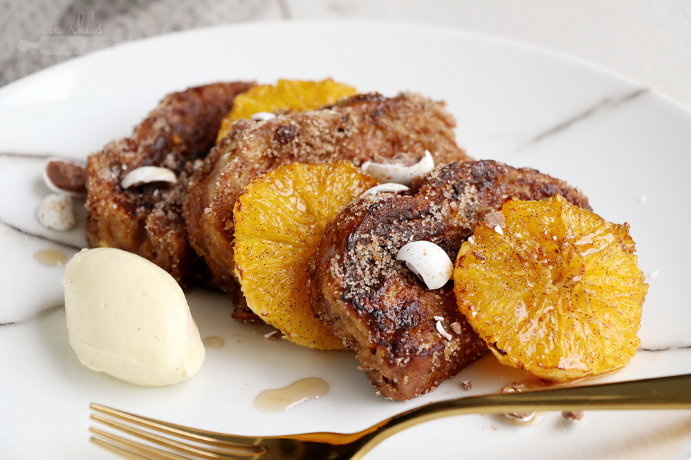 French toast with roasted oranges